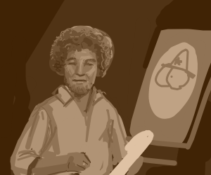 Bob Ross admiring a happy accident