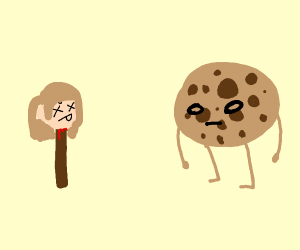 A cookie looking at head on a stick