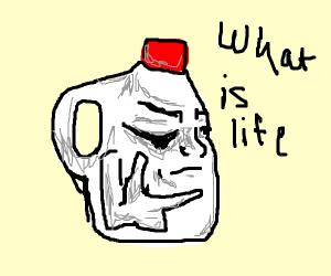 A milk jug contemplating life.