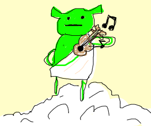 Shrek in a toga playing a deformed ukulele