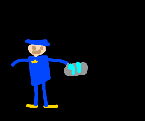 a police officer taking some light blue paint
