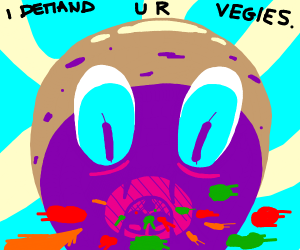 potato monster eating vegetables