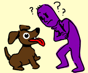 a purple guy is looking confused at a dog