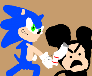 Sonic throws a sock at Mickey