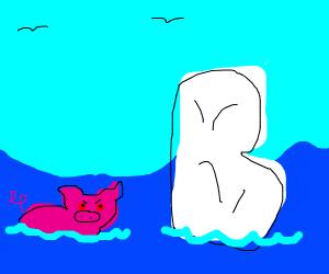 Mutated pig is swimming near an iceberg