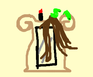 hair, lipstick, and green worms on a mirror