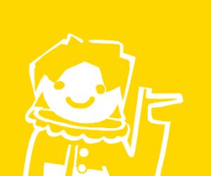Draw something white on yellow background