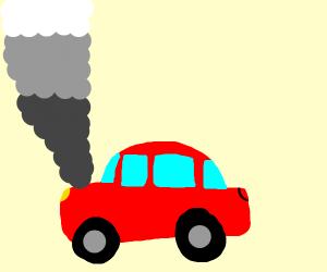 smoking red car