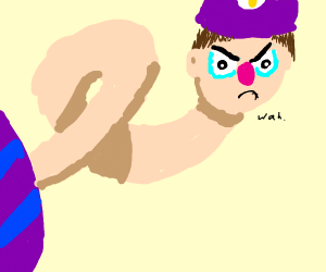 Waluigi With a extremely Long Neck