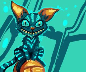Creepy blue chesire cat