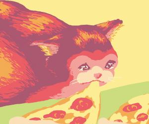 Sad cat stealing pizza