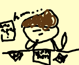 Brown haired trump brainstorming at a pen