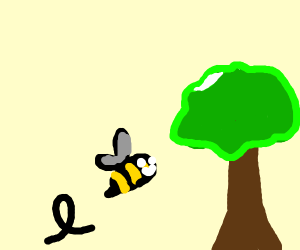 Bumblebee Flying To A Tree
