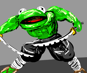 IS THAT KERMIT THE FROG WITH TWO NINJA SWORDS
