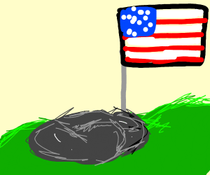 American Flag with some rocks