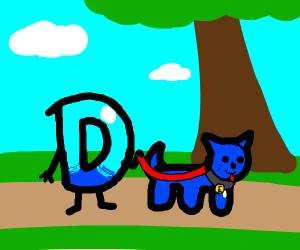 Drawception takes his dog, E for a walk.