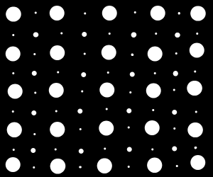 white dots on black background