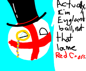 Englandball talking about the red cross