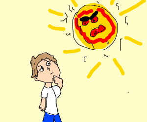 man talking to angry sun
