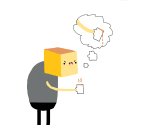 blocky man thinks about spilling the tea