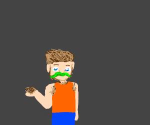 Man with green mustache & body hair + spider