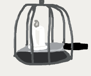 Candle on a knife in a cage