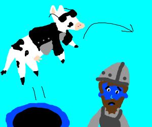 Badass cow jumps over a blue dwarf
