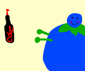 giant blueberry woman trying to grab coke