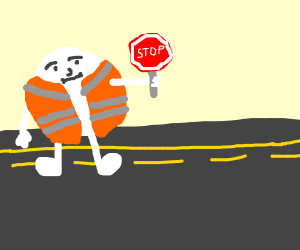 Traffic worker becomes a head with arms