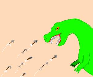 Shooting arrows at a dinosaur