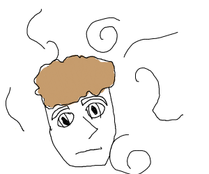 very generic floating male head in white void