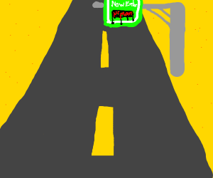 """A sign above a road that says """"Now entering """""""