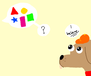 Dog with orange hat believes in shapes