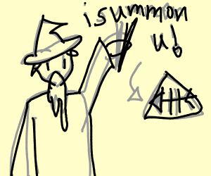 Wizard summons fish skeleton triangle