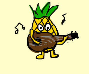 A pineapple playing guitar