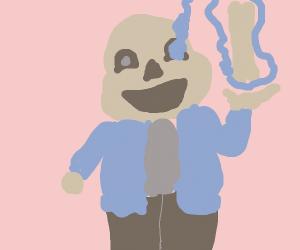 Sans with a massive bone