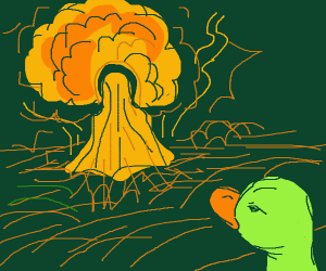 A duck watching a nuclear bombing fromtheroad