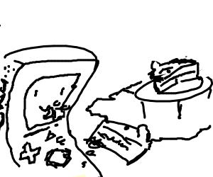 BMO eating fin cake