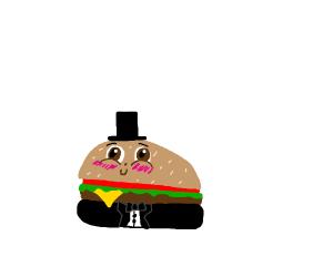 Burger wearing a tuxedo.