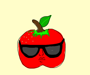 apple wearing sunglasses