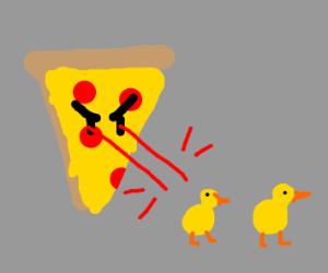 Pizza Spaceship shooting ducks - Drawception