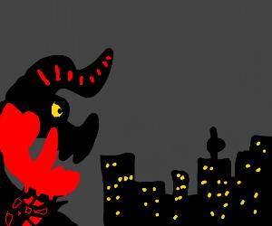 Demonic dinosaur attacks a city