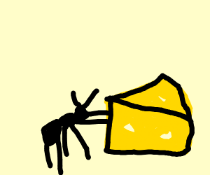 Ant pushing Cheese