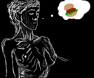 An anorexic man thinking of food