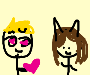 Blonde man likes gal with cat ears