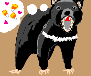 Tazmanian Devil loves candy corn