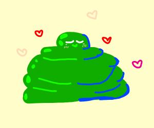 a green blob in love