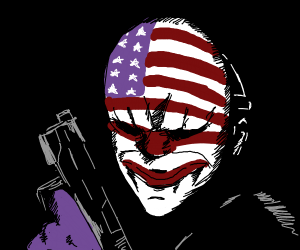 guy in a mask from the video game Payday