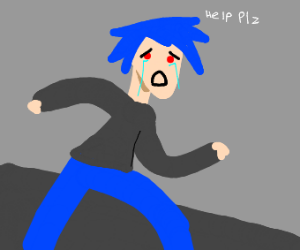 guy with blue hair crying for help and runnin