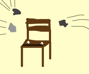 Wooden chair is stoned af